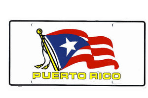 Puerto Rico Metal Car License Plate with flagpole