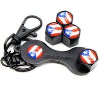 Puerto Rico flag Car Wheel Tire Air Valve Caps With Wrench Set