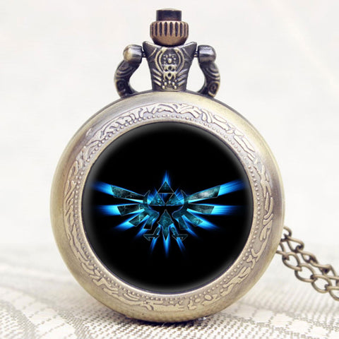The Legend of Zelda Extenison Symbol Glass Dome Design Pendant Pocket Watch With Chain Necklace