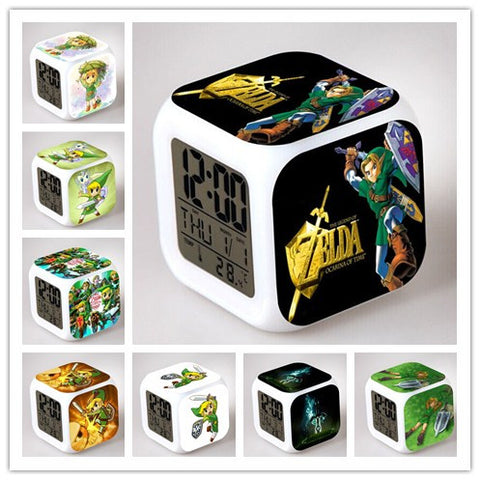 The Legend of Zelda Figures Lighting Despertador Color Changing LED Clock