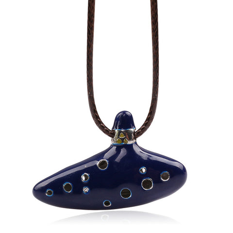 NEW Style Legend of Zelda Ocarina Necklace, New Ocarina Flute Blue Enamel Necklace