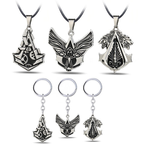 Assassins Creed Hero Logo Necklace Hidden Blade Gear Keychain & Keyring Pendant