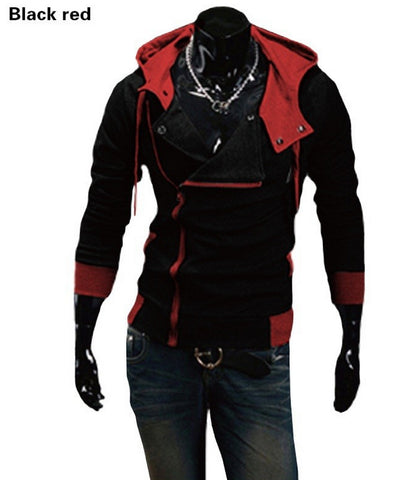 Assassin Creeds Men's Oblique Zipper Hoodie Casual Slim Fit Top Cosplay Costume Jacket