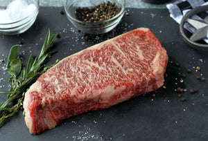 Texas Craft Wagyu dry aged Wagyu NY Strip (Striploin). Craft steaks. Dallas delivery.