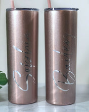 Personalized Tumbler with Straw, Wedding Tumbler, Bridesmaid Tumbler Set, Skinny Tumbler Glitter, Name Water Bottle, Rose Gold, Party Favors
