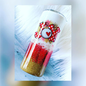 Joy glitter tumbler, Christmas tumbler, holiday gifts, holiday cup