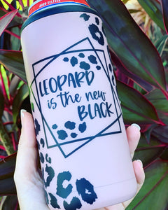 Leopard is the new black Slim Can Cooler
