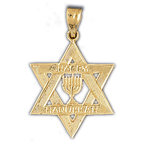 14K Gold Star of David Happy Hanukkah Charm Jewelry - Mitzvahland.com All your Judaica Needs!
