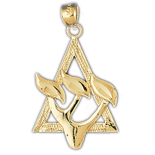 14K Gold Star of David Shin Pendant Jewelry - Mitzvahland.com All your Judaica Needs!