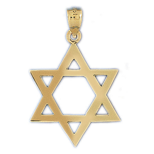14K Gold Star of David Jewish Star Pendant Jewelry - Mitzvahland.com All your Judaica Needs!