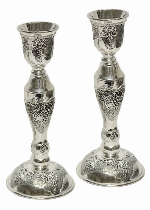 Candle Sticks Nickel Plated Candlestick Holders - Mitzvahland.com All your Judaica Needs!