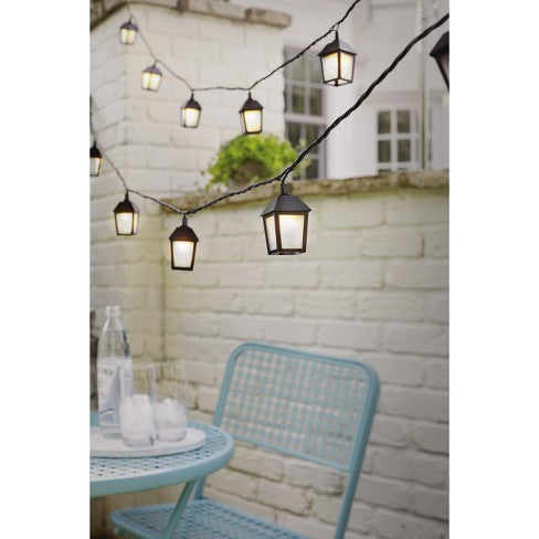Sukkah Light 11 Feet,  10 Socket Light Black, Include 4 extra Bulbs<BR>Outdoor Lantern String Lights Black