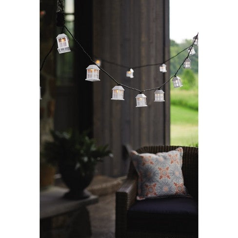 Sukkah Light 11 Feet,  10 Socket Light White Include 4 extra Bulbs<BR>Outdoor Lantern String Lights Black