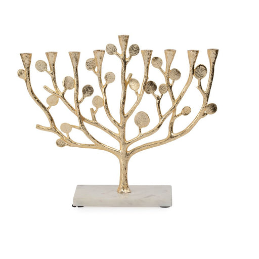 Botanical Leaf Gold Menorah  - Mitzvahland.com All your Judaica Needs!