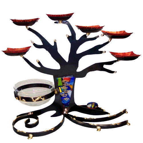 Mixed Metal Black Tree of Life Seder Plate