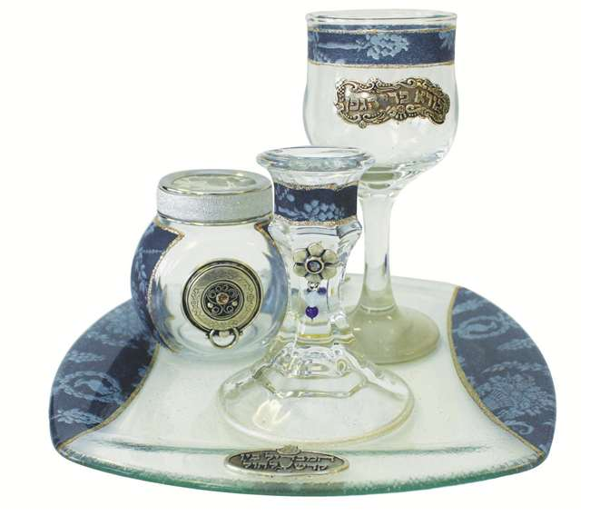 Havdalah Set With Tray Applique - Blue Havdalah Sets - Mitzvahland.com All your Judaica Needs!