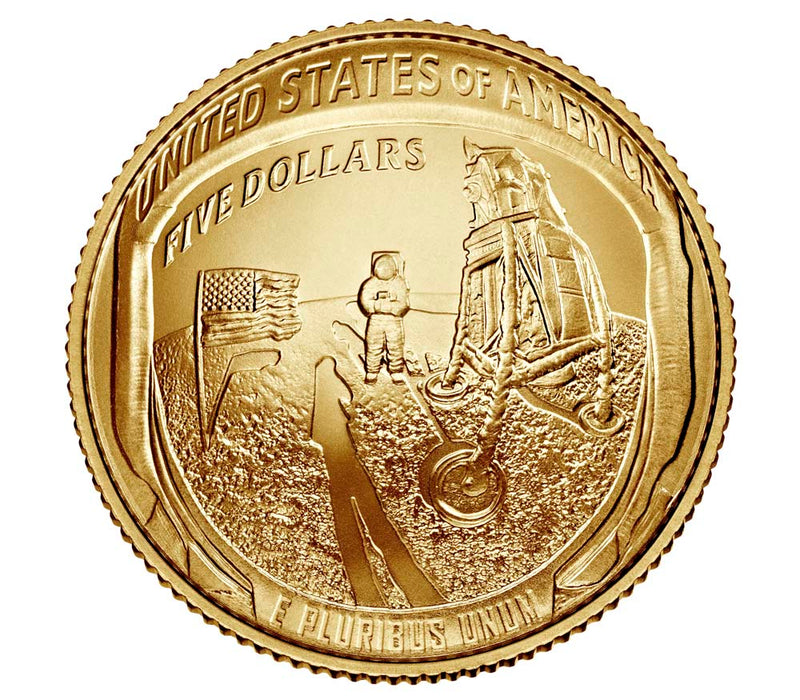 Apollo 11 50th Anniversary 2019 Uncirculated $5 Gold Coin - West Point Mint  - Mitzvahland.com All your Judaica Needs!