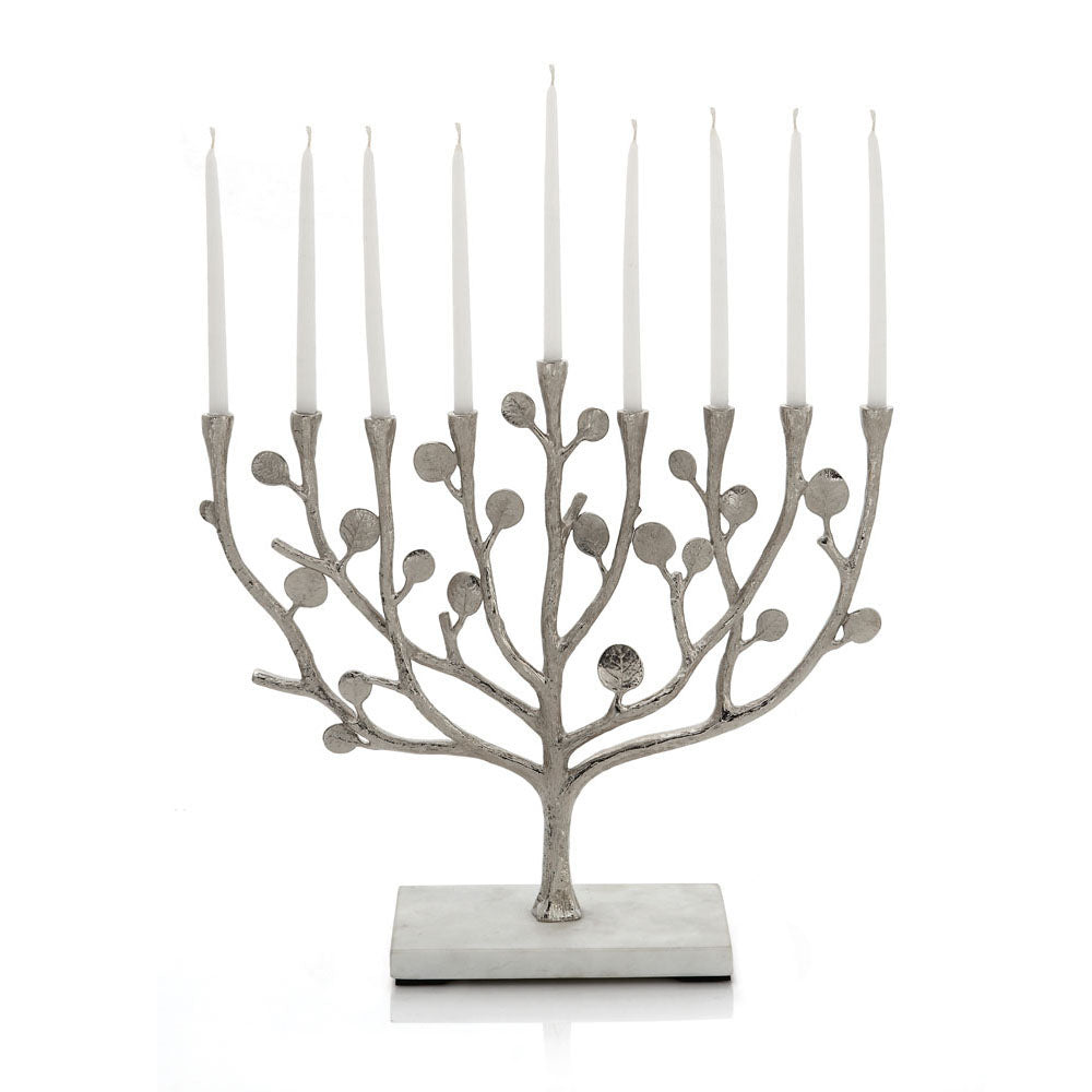 Botanical Leaf Menorah Nickel Plate and Marble Michael Aram Menorah - Mitzvahland.com All your Judaica Needs!