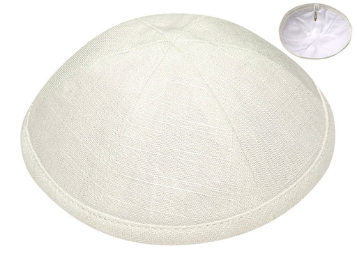 Off White Linen Kippah