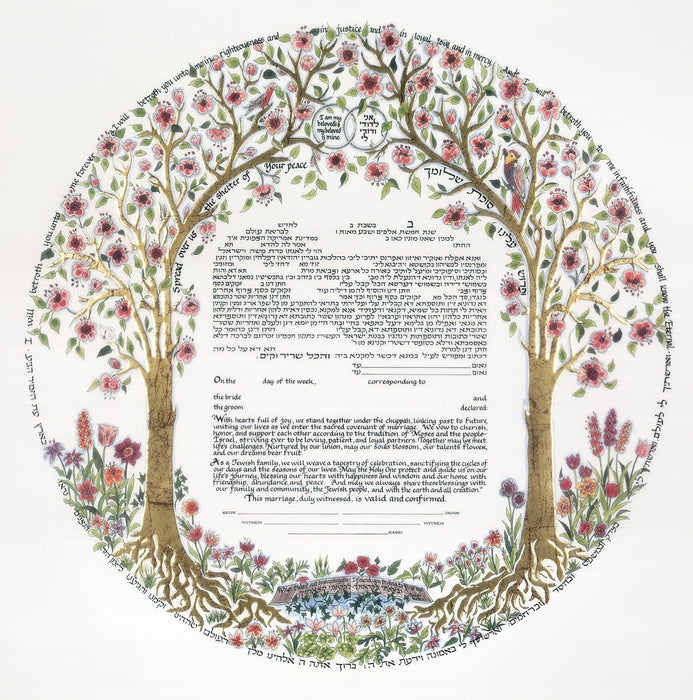 Trees Of Life Ketubah - Gold