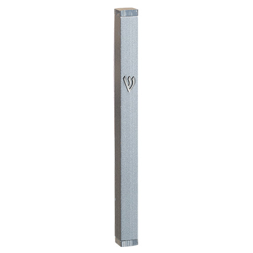 "Tall Silver Mezuzah with Embossed ""Shin"""