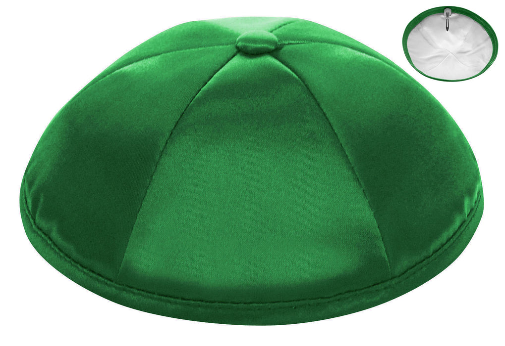 Kelly Green Deluxe Satin Kippah - Per Piece Kippot / Yarmulkes - Mitzvahland.com All your Judaica Needs!