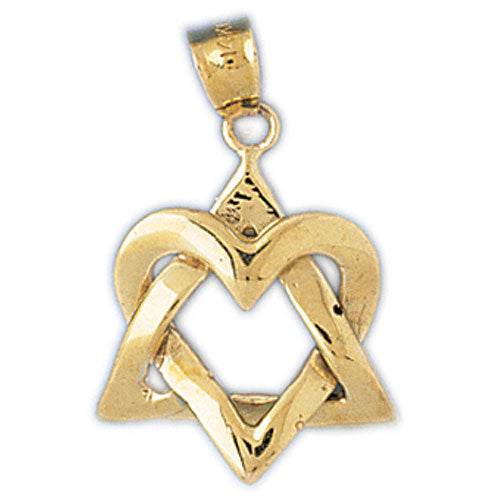 14K Gold Star of David Jewish Star Heart Pendant Jewelry - Mitzvahland.com All your Judaica Needs!