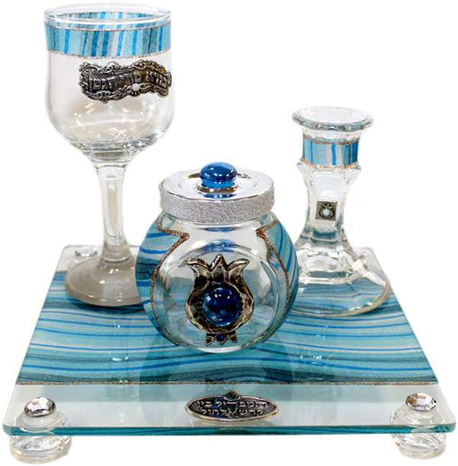 Havdalah Set With Tray Applique - Ocean Blue Havdalah Sets - Mitzvahland.com All your Judaica Needs!