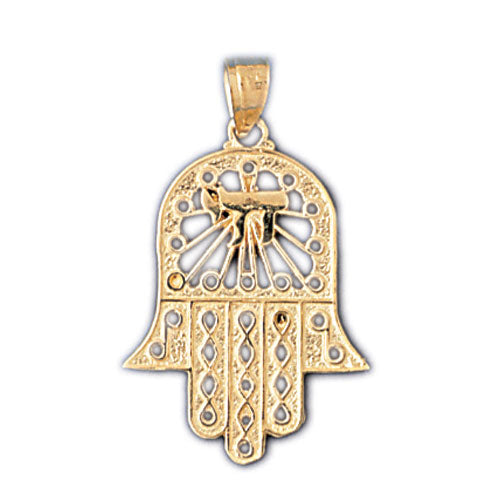 14K Gold Hamsa Hand Pendant w/Chai Symbol Jewelry - Mitzvahland.com All your Judaica Needs!