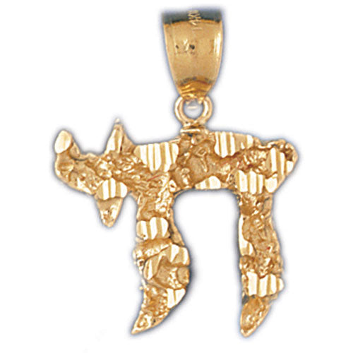 14K Gold Jewish Chai Nugget Pendant Jewelry - Mitzvahland.com All your Judaica Needs!