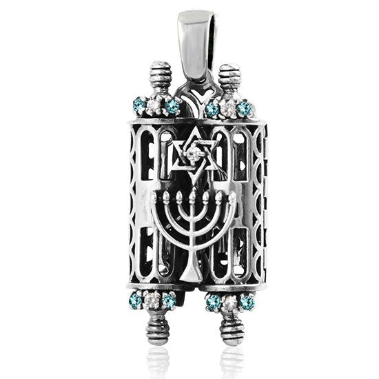 Silver Torah Scroll Pendant with Ten Commandments and Star of David