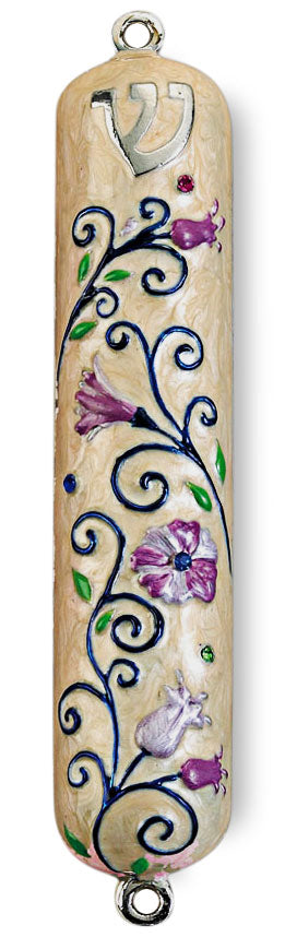 Floral Enameled Mezuzah with Rhinestones Mezuzah Free Shipping - Mitzvahland.com All your Judaica Needs!