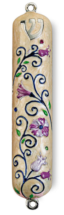 "Floral Enameled Mezuzah with Rhinestones - 5"" Mezuzah Free Shipping - Mitzvahland.com All your Judaica Needs!"