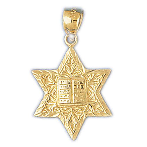 14K Gold Jewish Star of David w/Bible Charm Jewelry - Mitzvahland.com All your Judaica Needs!
