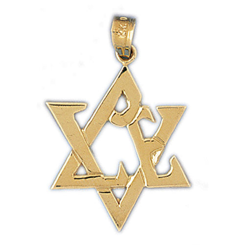 14K Gold Star of David w/Love Pendant Jewelry - Mitzvahland.com All your Judaica Needs!
