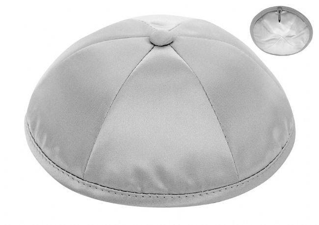 Medium Grey Deluxe Satin Kippah  - Per Piece