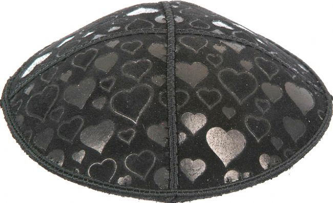Hearts Embossed Kippah Kippot / Yarmulkes - Mitzvahland.com All your Judaica Needs!