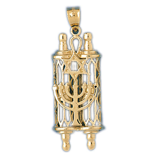 14K Gold Torah w/Star Of David & Menorah Pendant Jewelry - Mitzvahland.com All your Judaica Needs!