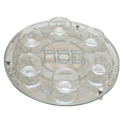 Seder Plate Glass with Silver