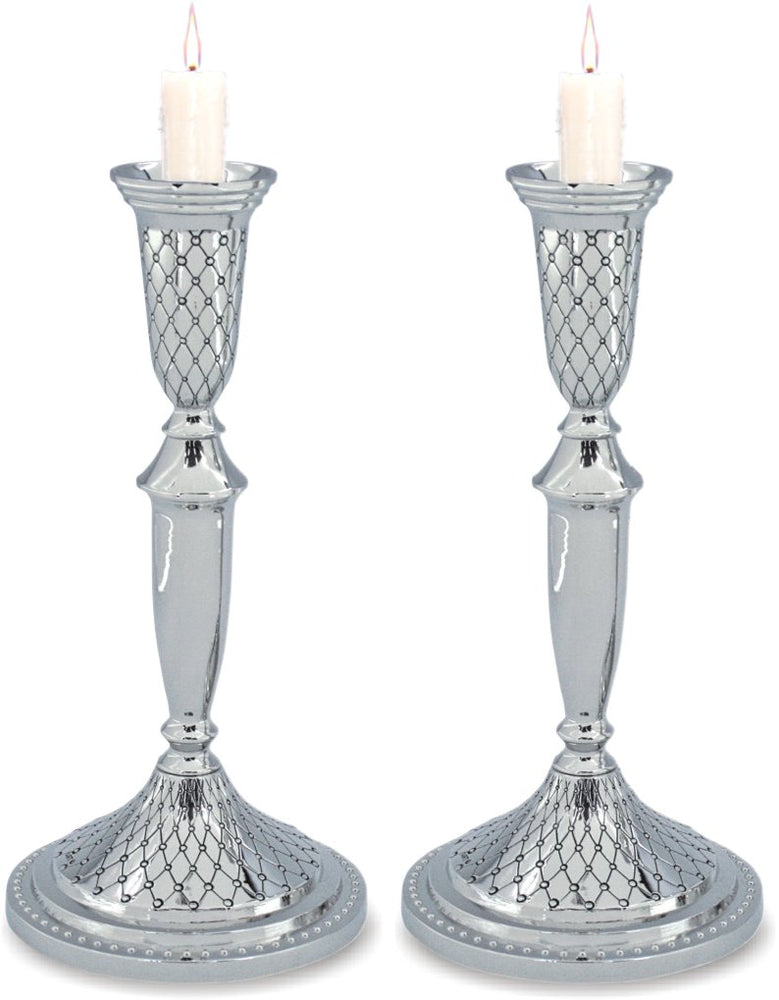 Diamond Design Candlesticks -  Nickel Silver