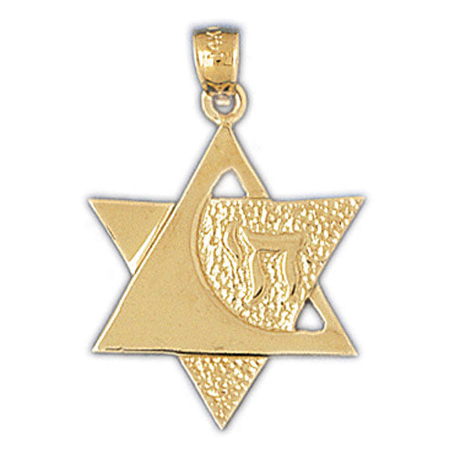 14K Gold Star of David w/Chai Life Pendant Jewelry - Mitzvahland.com All your Judaica Needs!