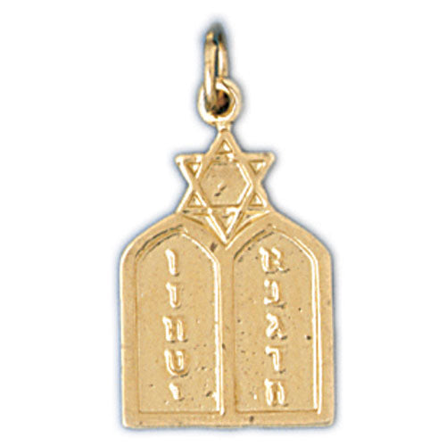 14K Gold Ten Commandment Charm Jewelry - Mitzvahland.com All your Judaica Needs!