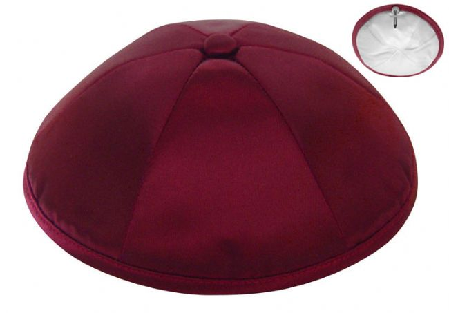 Burgundy Deluxe Satin Kippah  - Per Piece Kippot / Yarmulkes - Mitzvahland.com All your Judaica Needs!