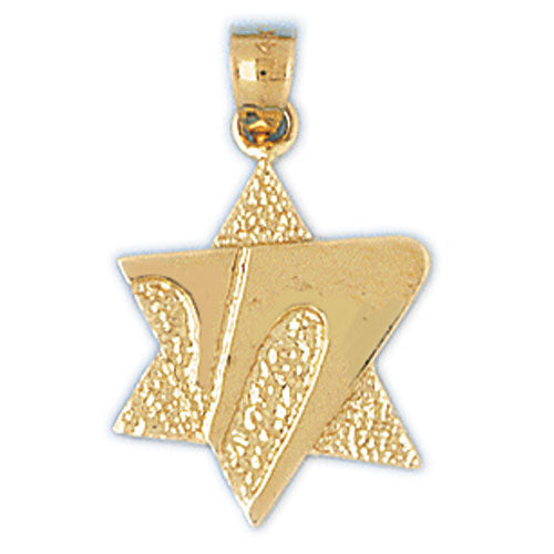 14K Gold Star of David Life Charm Jewelry - Mitzvahland.com All your Judaica Needs!