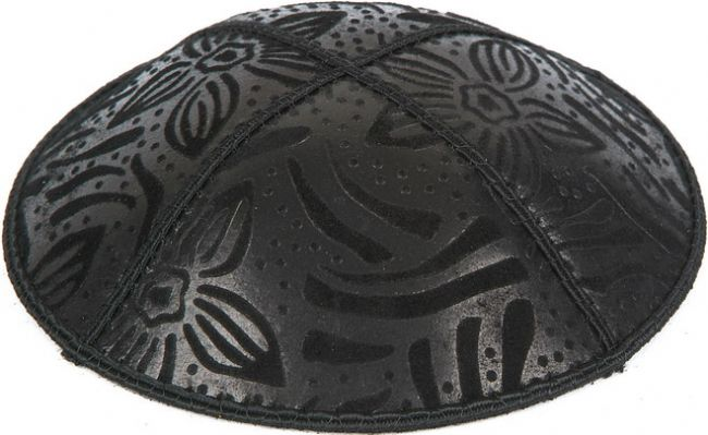 Large Flowers Embossed Kippah