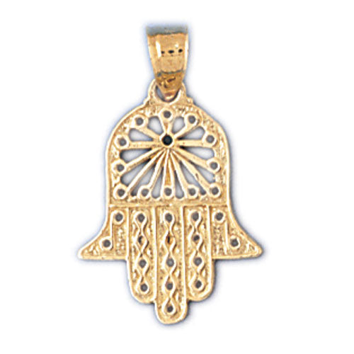 14K Gold Hamsa Hand Protection Charm Jewelry - Mitzvahland.com All your Judaica Needs!