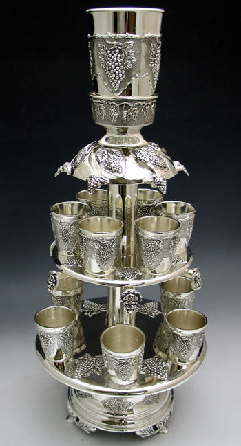 Kiddush Fountain in 2 Tier - Silver Plated  12 cups
