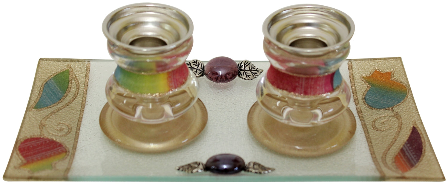 Candle Stick With Tray Small Applique - Rainbow Candlestick Holders - Mitzvahland.com All your Judaica Needs!