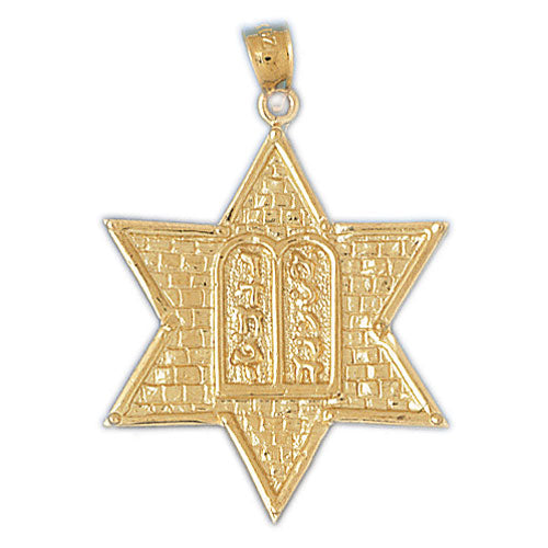 14K Gold Jewish Star of David w/Ten Commandments Pendant Jewelry - Mitzvahland.com All your Judaica Needs!