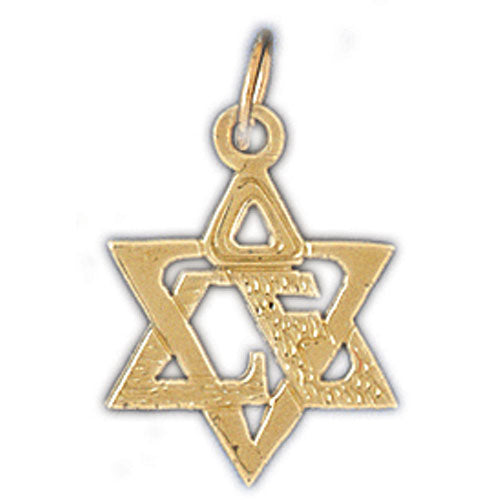 14K Gold Star of David w/Love Charm Jewelry - Mitzvahland.com All your Judaica Needs!